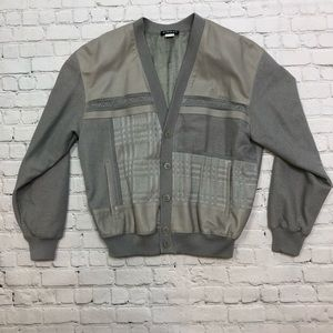 Other - Vintage Torras Leather Knit Gray Cardigan